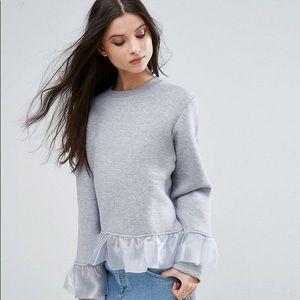 ASOS Gray Bell Sleeve Pullover